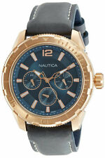 NAUTICA NAPSTL003 Men's WATCH Quartz Multifunction DAY Date GREY LEATHER NEW