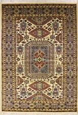 Rugstc 5x8 Caucasian Design White Area Rug, Hand-Knotted,Geometric with Wool