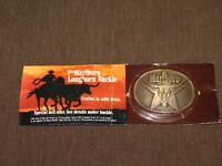VINTAGE COWBOY CIGARETTES MARLBORO LONGHORN BRASS BELT BUCKLE UNOPENED PROMO
