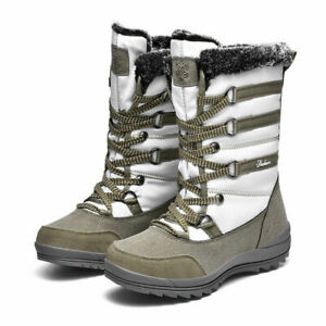 Women's Winter Snow Boots Lace Up Mid Claf Casual Anti-Slip Shoes Warm Comfort