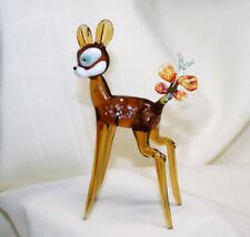 Hand Blown Glass Lamp Glass Murano Art Glass Bambi with Butterfly Figurine