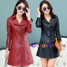 2018 New winter Windbreaker women leather coat leather long Windbreaker jacket