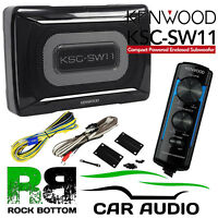 Kenwood KSC-SW11 150 Watts Active Amplified UnderSeat Car Sub Subwoofer & Wiring