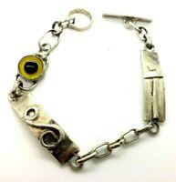 "Artisan Modern Toggle Links Sterling Silver 925 Bracelet 15g 7"" NEW034"