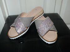 Ladies Grey Faux Suede CARVELA - KURT GEIGER Sparkly Slip On Wedges Size 5 (38)