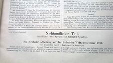 1910 43 Belgien Weltausstellung Deutsche Abteilung
