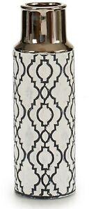 30cm Bottle Shaped Ceramic White & Silver Decorative Flower Vase Ethnic Design