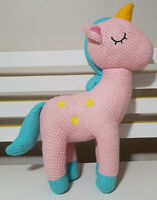 PINK UNICORN PLUSH TOY! KNITTED STYLE KIDS TOY ABOUT 40CM TALL SOFT TOY!