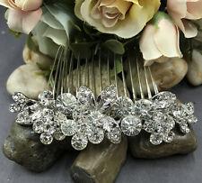 NEW  elegant wedding silver tone bridal comb crystal rhinestone ha27425sil
