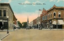 Baraboo Wisconsin~Third Avenue~Barber Shop Pole~Bank~Drug Store~Shoes~1910 PC