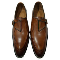Mens Dress Shoes Real Leather Brown Single Monk Strap Buckle Formal Shoes