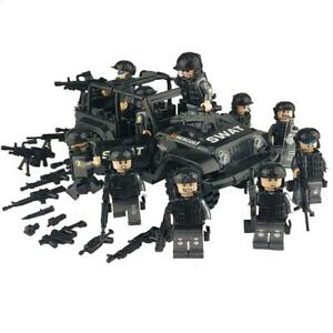 Military Special Forces Soldiers Bricks Figures Car Weapons Armed SWAT Bricks