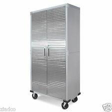 Metal Rolling Garage Tool File Storage Cabinet Shelving Stainless Steel Doors