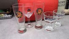 SET of 5 ICONIC BELGIAN BEER GLASSES - 2 HOEGAARDEN,2 SHOCKTOP & LEFFE