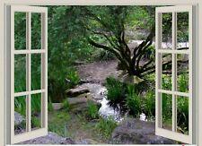 WINDOW 3D EFFECT LANDSCAPE SCENE CANVAS PICTURE POSTER PRINT UNFRAMED D46
