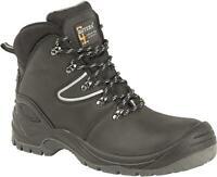 Mens Grafters Black Hi-Shine Smooth Leather Air Cushion Uniform Shoes M385