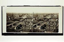 Panorama de Paris avec les 8 Ponts France Photo Plaque stéréo par Ferrier c 1860