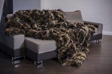 Luxury Finn Raccoon Real Fur Throw KING SIZE XXL Rug Bedspread Genuine Blanket