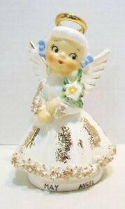 MAY BIRTHDAY ANGEL VINTAGE CERAMIC FIGURINE # 526 HOLDING FLOWERS BOUQUET JAPAN