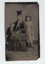 TINTYPE 11-9 Mother son daughter children ferrotype