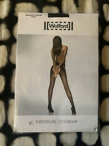 New WOLFORD Individual 12 Stay Hip Crotchless Black Tights Pantyhose S NIP