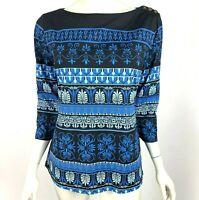J McLaughlin Catalina Cloth Top 3/4 Sleeve Stretch Shirt Black Blue Blouse Women