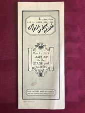Max Factor Theatre Makeup Brochures price order sheet 1967 RARE