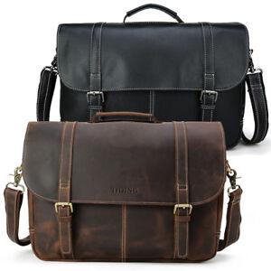 """Men Genuine Leather 16"""" Laptop Bag Briefcase Business Bag Shoulder Bag Handbag"""
