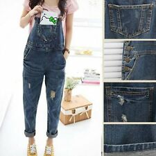 UK Fashion Baggy Denim Jeans Full Length Pinafore Dungaree Overall Jumpsuit