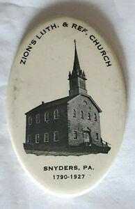 Vintage 1927 Pocket Mirror Zion's Church Snyders PA Bastian Bros Rochester NY