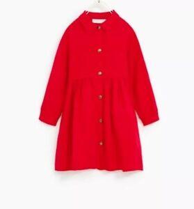 NWT ZARA GIRLS Soft Collection Red Shirt Dress Long Sleeves Sz 11-12 Linen Blend