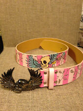 Women's Pink Cookie Fashion Belt Skull with wings buckle. Size S 28-32 inch