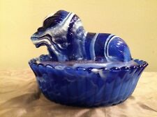RARE COBALT WESTMORELAND SLAG GLASS LION COVERED CANDY DISH ON A NEST