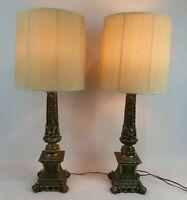 "PAIR OF CAST METAL COLUMN LAMPS 32"" TALL"
