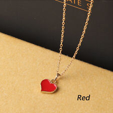 Fashion Red Heart Love Pendant Necklace Alloy Gold Color Chain With Clasp