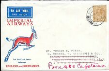 GB IMPERIAL AIRWAYS COVER TO SOUTH AFRICA ARRIVED 21.12.1931
