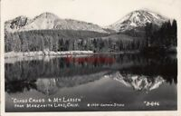 Postcard RPPC Chaos Crags & Mt Lassen from Manzanita Lake CA 1939