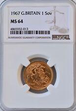 More details for 1967 gold sovereign elizabeth ngc ms64 uncirculated bu coin uk sov britain