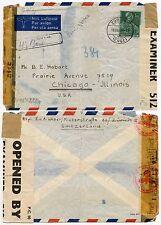 BERMUDA CENSOR 1943 + THIRD REICH CENSOR SWITZERLAND to USA AIRMAIL VIA BOXED HS