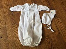 NWT Petit Ami Boys White Batiste Take Home Sack Gown w/ Bonnet Preemie Baptism