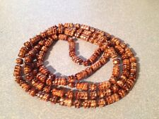 Unusual Vintage Brown Bead Necklace/1970's/Retro/Extra Long/Shell Look?