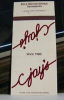Rare Vintage Matchbook C3 Sacramento California C Jay's Since 1980 Best Ribs