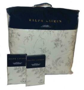 RALPH LAUREN Hoxton Ainslie Floral Grey Cream 3P FULL/ QUEEN COMFORTER SHAMS SET