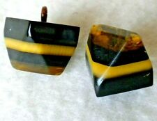 2 Vintage Chunky Layered BAKELITE Shank Buttons, Tested, Lot B 36