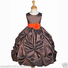 BROWN TAFFETA WEDDING PAGEANT PARTY FLOWER GIRL DRESS 6M 9M 12M 18M 2 4 5 6 8 10