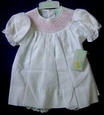 NWT Smocked Baby Dress White 2pc diaper cover 9M Christmas Gift SALE