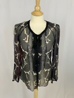 Elie Tahari Women's Silk Blouse Sheer Lightweight Multi-Color Boho Size Small