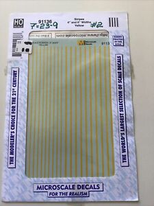 """MICROSCALE DECAL HO SCALE 91136: Stripes 4"""" And 6"""" Widths Yellow"""