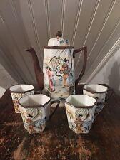 Antique Japanese Vtg Porcelain Tea Set Enameled Design Of Ladies Pot & 4 Cups
