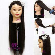 """30"""" Pro 100% Tête À Coiffer synthétiques cheveux Coiffure Mannequin Doll + Clamp"""